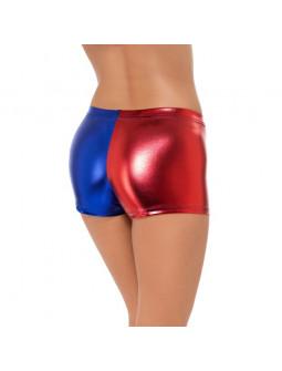 Pantalones cortos de Harley Quinn en Rojo y Azul