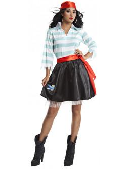 Disfraz de Pirata con Rayas Azules para Mujer