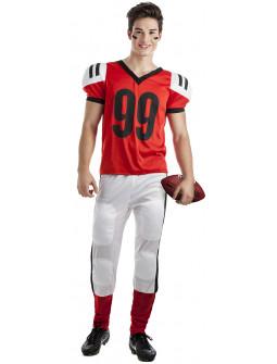 Disfraz de Jugador de Rugby Rojo para Adulto