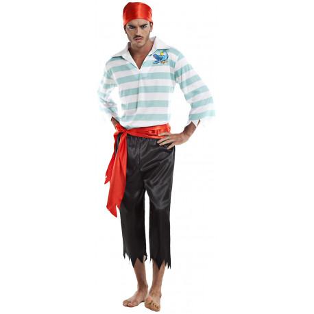 Disfraz de Pirata con Rayas Azules para Hombre