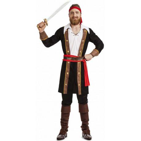 Disfraz de Pirata con Abrigo Negro para Hombre