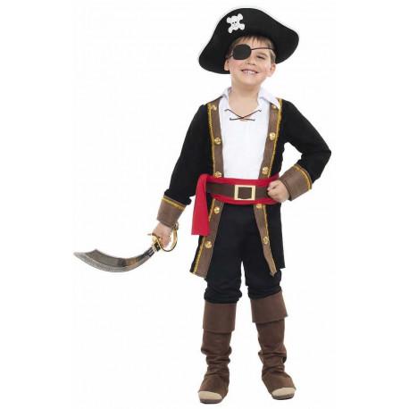 Disfraz de Pirata con Abrigo Negro para Niño