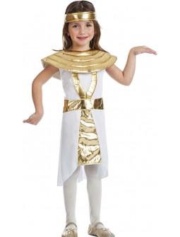 Disfraz de Egipcia Dorado y Blanco para Niña