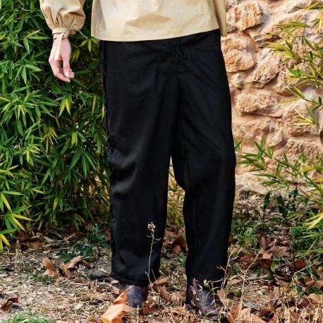 Pantalón Medieval Negro con Ojales