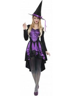Disfraz de Bruja Morado Corto para Mujer