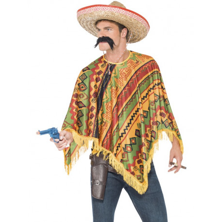Poncho Mexicano con Bigote para Adulto