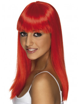 Peluca Roja Larga Lisa con Flequillo