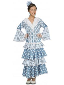 Disfraz de Sevillana Azul Turquesa para Niña