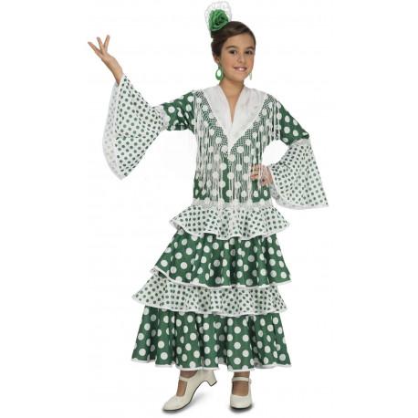 Disfraz de Sevillana Verde para Niña