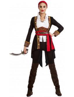 Disfraz de Pirata con Abrigo Negro para Mujer