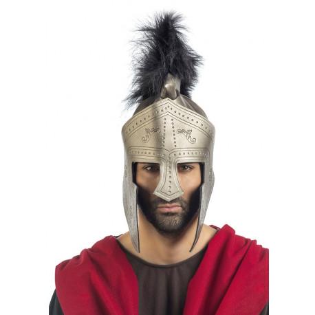 Casco de Centurión Romano Plateado con Penacho