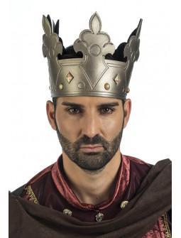 Corona de Rey del Medieval Plateada con Pedrería