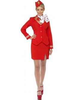 Disfraz de Azafata de Avión Rojo para Mujer