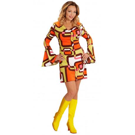 Disfraz Disco Años 70 Naranja y Amarillo para Mujer