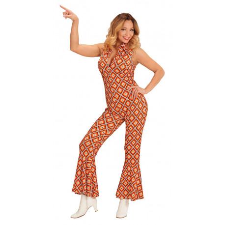 Disfraz disco a os 70 naranja y blanco para mujer comprar - Fiesta disco anos 70 ...