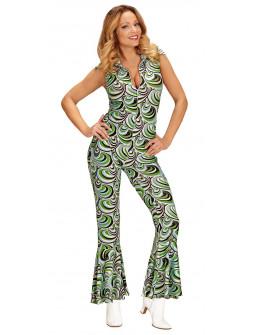 Disfraz Disco Años 70 Verde y Blanco para Mujer