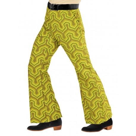 Pantalón Disco Años 70 Verde Pistacho para Hombre