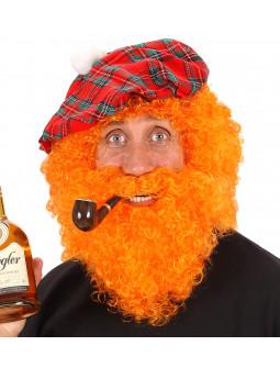 Peluca Naranja Rizada con Barba