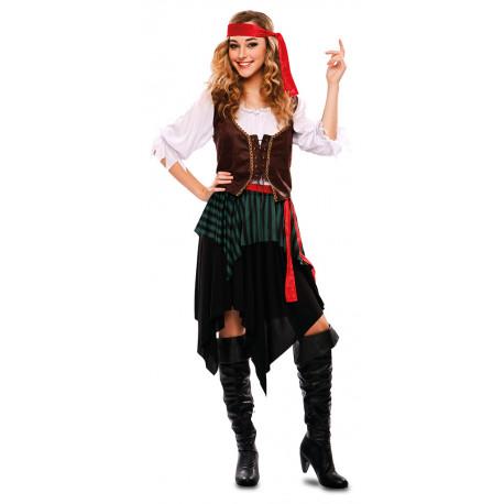Disfraz de Pirata con Chaleco para Mujer