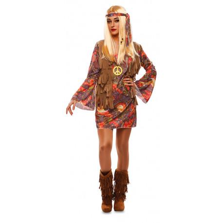 Disfraz de Hippie Años 60 con Chaleco para Mujer
