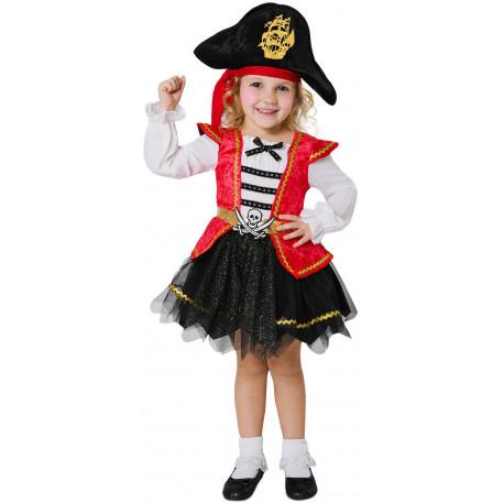 Disfraz de Pirata Rojo para Niña con Falda de Tul