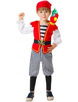 Disfraz de Pirata Rojo con Loro para Niño