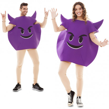 Disfraz de Emoticono de Diablo Morado para Adulto