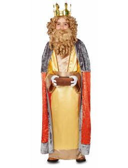 Disfraz de Rey Mago Gaspar con Capa para Niño