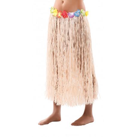 Falda Hawaiana Color Rafia con Flores