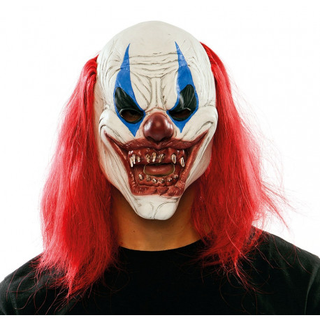 Máscara de Payaso Diabólico con Pelo Rojo