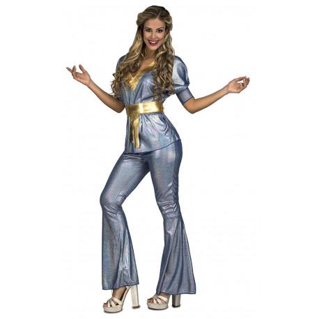 Disfraz de Chica Disco Plateada para Mujer