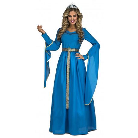 Disfraz de Reina Medieval Azul para Mujer