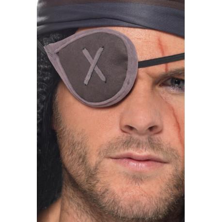 Parche Pirata Decorado de Tela Gris