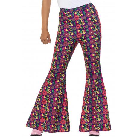 Pantalones de Campana Hippies Años 60 para Mujer