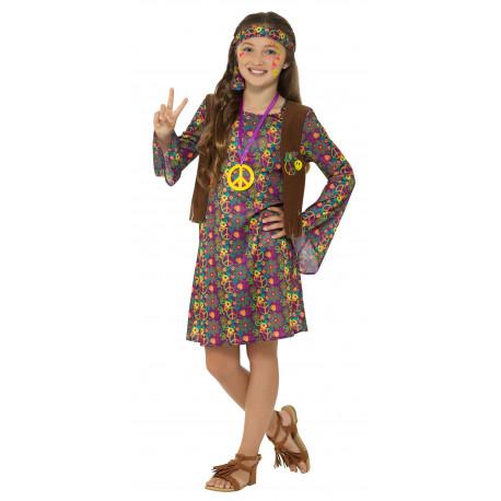 Disfraz de Hippie con Chaleco para Niña