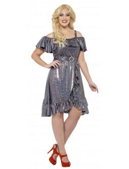Disfraz Disco Plateado en Talla Grande para Mujer