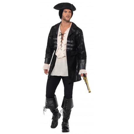 Chaqueta de Capitán Pirata Negra para Adulto
