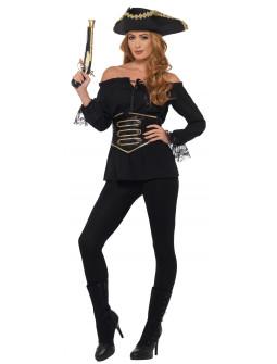 Camisa Pirata Negra con Corpiño para Mujer