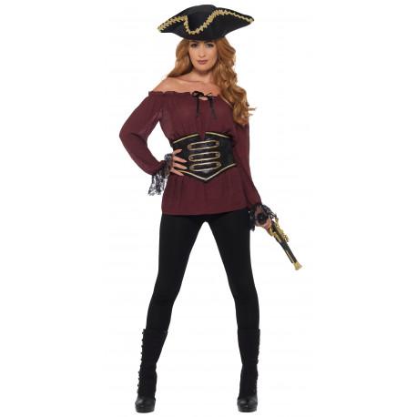 Camisa Pirata Granate con Corpiño para Mujer