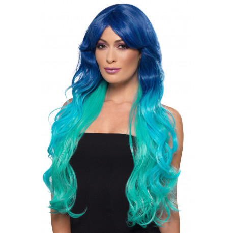 Peluca Azul con Desagradado Azul Celeste Larga