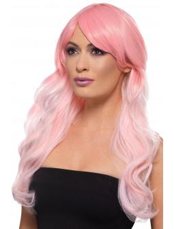 Peluca Rosa Pastel con Degradado Larga Ondulada