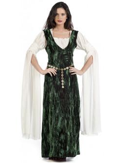 Disfraz de Dama Medieval Verde con Mangas Largas para Mujer