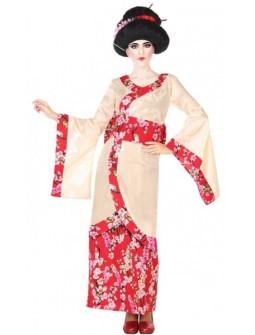 Disfraz de Geisha Japonesa con Flores para Mujer