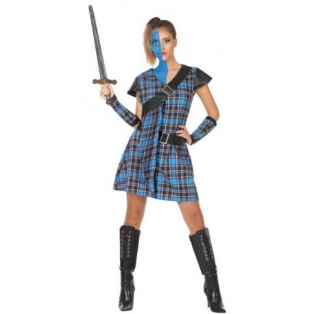 Disfraz de Guerrillera Escocesa Azul para Mujer