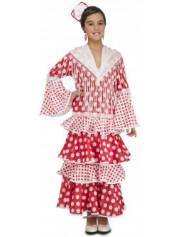 Disfraz de Sevillana Rojo para Niña
