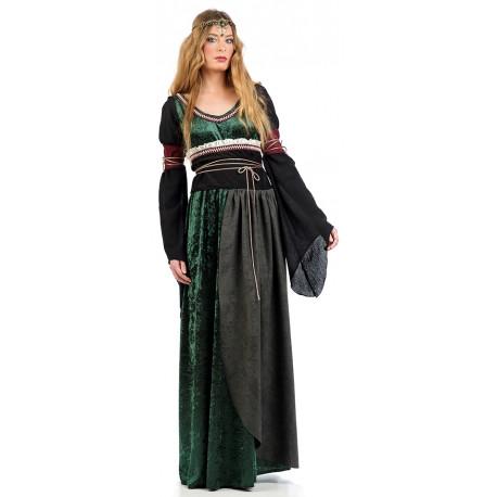 Vestido de Princesa Medieval Verde para Mujer