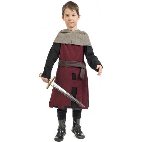 Disfraz de Caballero Medieval Granate para Niño