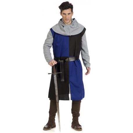 Disfraz de Caballero Cruzado Medieval Azul para Hombre