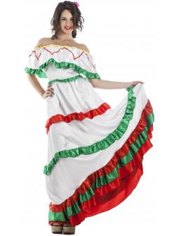 Disfraz de Mejicana Blanco Largo para Mujer