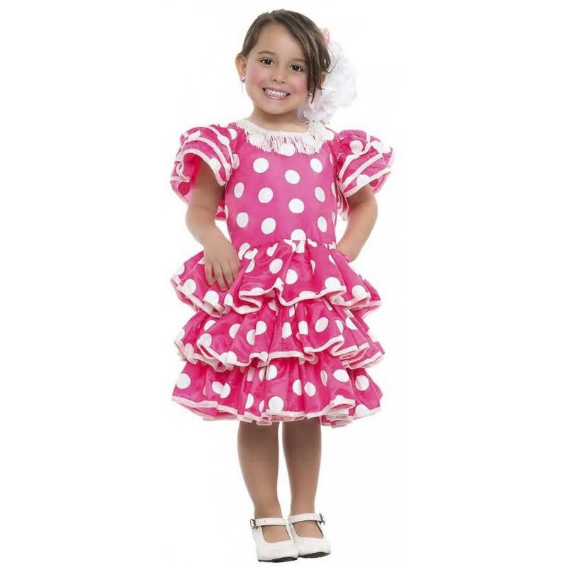 272ed439f Disfraz de Sevillana Rosa para Niña